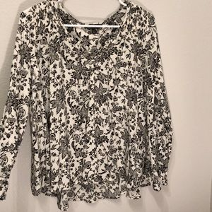 Black and White Flowy Shirt